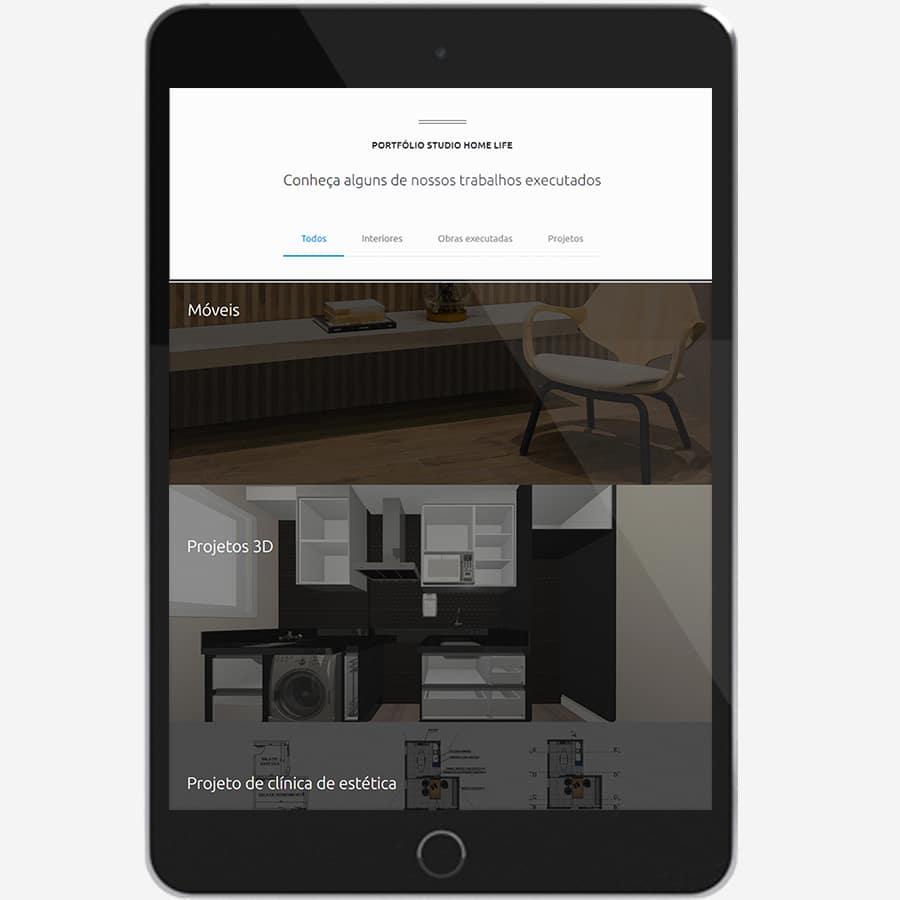 Home Life - site em tablet